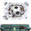 3D Broken Wall Football Pattern Removable Wall Sticker - WHITE AND BLACK