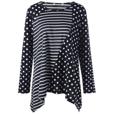 Buy BLACK XL Plus Size Striped Polka Dot T-shirt for $16.05 in GearBest store