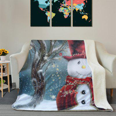 Christmas Snowman Pattern Soft Fleece Thermal Blanket