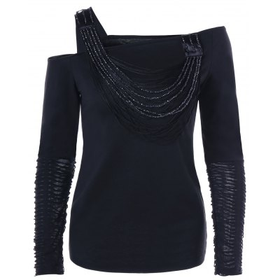 Beaded Distressed Long Sleeve One Shoulder Top club style one shoulder black long beaded sleeve dress for women