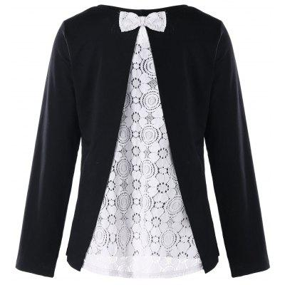 Lace Trim Bowknot Embellished Top