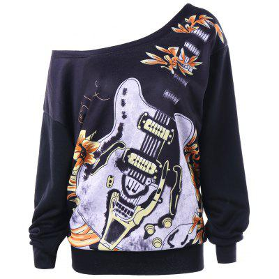 Plus Size Musical Instruments Skew Collar Sweatshirt