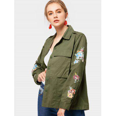 Floral Patched Letter Jacket