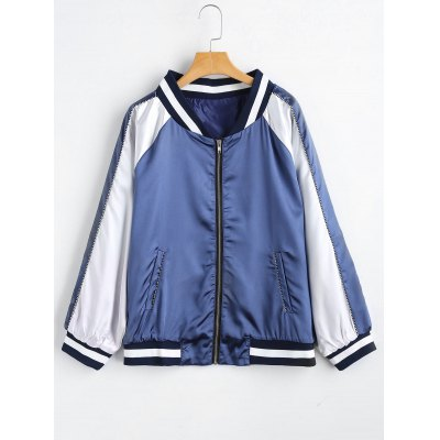 Plus Size Zip Up Striped Baseball Jacket
