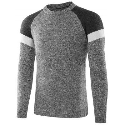 Crew Neck Raglan Sleeve Color Block Sweater