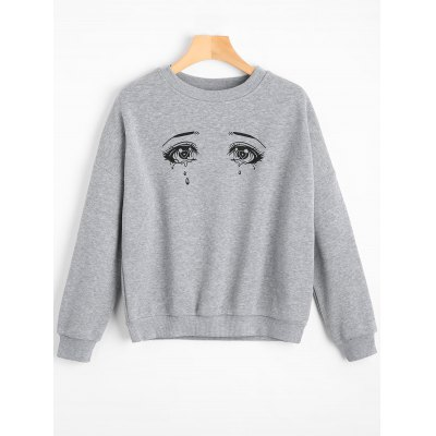 Crying Eyes Graphic Drop Shoulder Sweatshirt