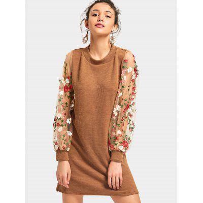 Buy BROWN L Mesh Panel Floral Mini Knit Dress for $27.02 in GearBest store