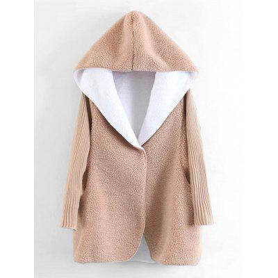 Wool Lamb Hooded Knitting Sleeve Coat
