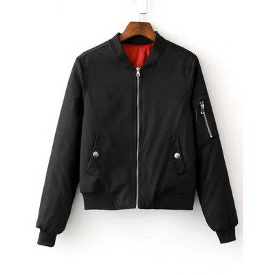 Zippered Sleeve Zip Up Bomber Jacket