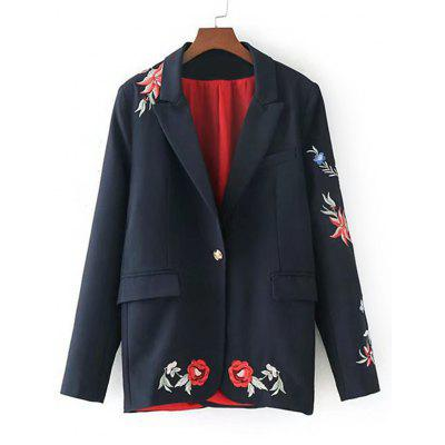 Floral Embroidered Button Up Blazer