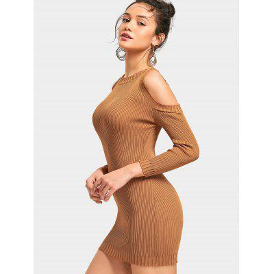 Cold Shoulder Ribbed Mini Knit Dress 228694401