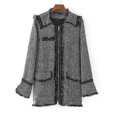 Zip Up Checked Fringed Coat