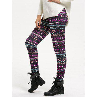 Heart Print High Waisted Fitted Leggings