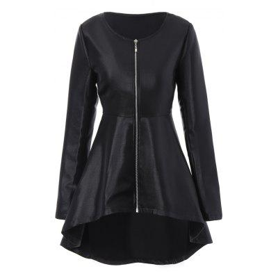 Zip Up Peplum High Low Coat