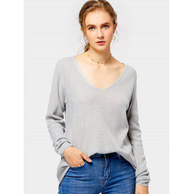 Buy GRAY L Loose Fit V Neck Pullover Knitwear for $21.19 in GearBest store