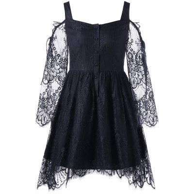 Buy BLACK L Halloween Cold Shoulder Eyelash Lace Dress for $24.51 in GearBest store