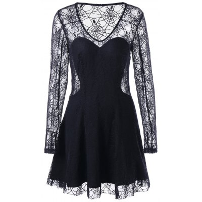 Halloween See Thru Spider Lace Dress