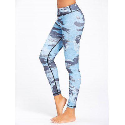 Buy NAVY BLUE L Sports Camo Printed Running Leggings for $21.64 in GearBest store