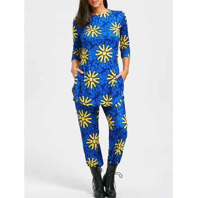 Buy BLUE M Floral Print Slit T-shirt and High Waist Pants for $24.44 in GearBest store
