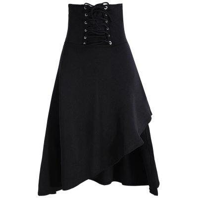 Lace Up Asymmetric Gothic Long Skirt