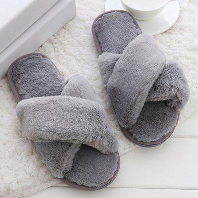 Open Toe Faux Fur Fluffy Slippers