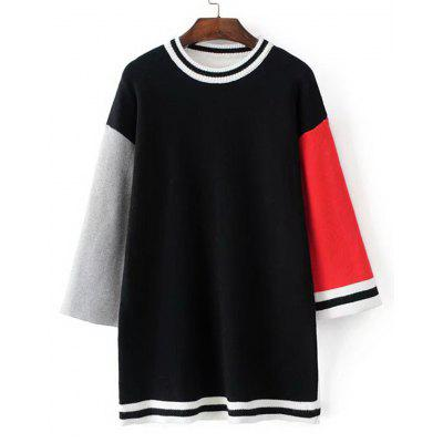 Buy BLACK Color Block Stripes Panel Longline Sweater for $30.51 in GearBest store