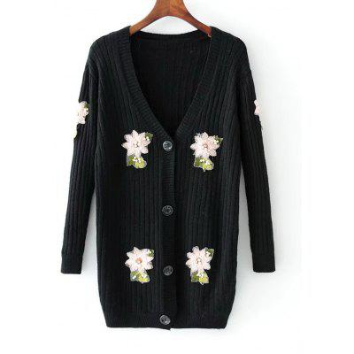 Floral Applique Beading Button Up Cardigan