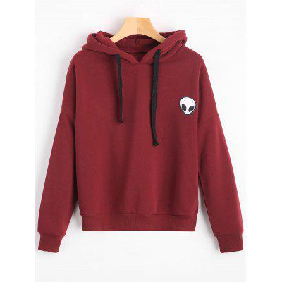 Patched Drawstring Hoodie
