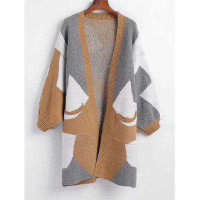 Contrasting Geometric Open Front Cardigan