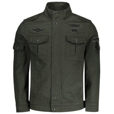 Buy ARMY GREEN 3XL Mens Patch Design Field Jacket for $46.23 in GearBest store