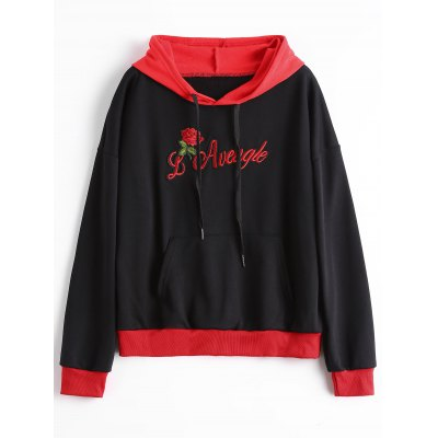 Front Pocket Floral Letter Patched Hoodie