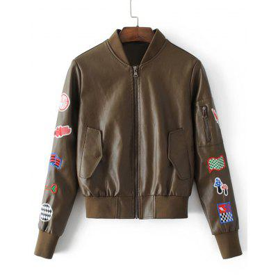 Faux Leather Patches Zip Up Baseball Jacket