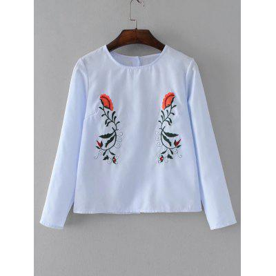 Floral Embroidered Buttoned Back Striped Blouse
