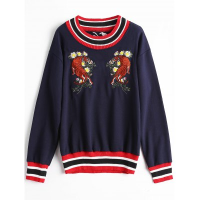 Tiger Embroidered Patch Sweater
