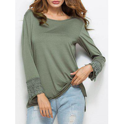 Long Sleeve High Low Lace Insert Tunic T-shirt