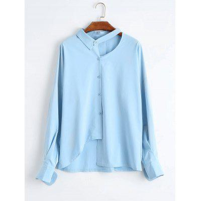 Buy Cut Out Button Up Plus Size Asymmetric Blouse, LIGHT BLUE, 3XL, Apparel, Women's Clothing, Plus Size, Plus Size Tops for $23.85 in GearBest store