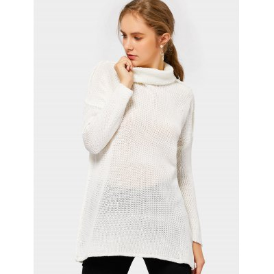 Drop Shoulder Turtleneck Tunic Sweater