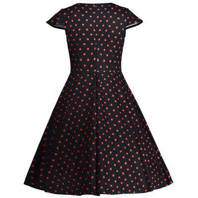 Cap Sleeve Polka Dot Print 50s DressWomens Dresses<br>Cap Sleeve Polka Dot Print 50s Dress<br><br>Dress Type: Fit and Flare Dress<br>Dresses Length: Mid-Calf<br>Material: Polyester<br>Neckline: V-Neck<br>Package Contents: 1 x Dress<br>Pattern Type: Print, Polka Dot<br>Season: Spring, Winter, Summer, Fall<br>Silhouette: A-Line<br>Sleeve Length: Short Sleeves<br>Sleeve Type: Cap Sleeve<br>Style: Vintage<br>Weight: 0.2600kg<br>With Belt: No