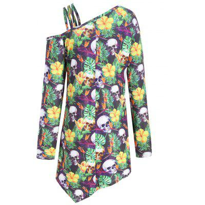 Plus Size Halloween Skull Skew Neck T-shirtPlus Size Tops<br>Plus Size Halloween Skull Skew Neck T-shirt<br><br>Collar: Skew Collar<br>Material: Cotton, Polyester<br>Package Contents: 1 x T-shirt<br>Pattern Type: Floral, Skulls<br>Season: Fall<br>Shirt Length: Long<br>Sleeve Length: Full<br>Style: Fashion<br>Weight: 0.2550kg