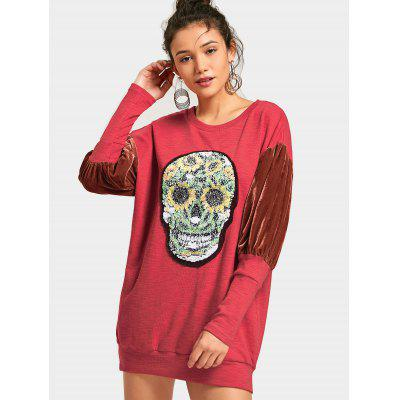 Velvet Panel Sequined Skull Sweatshirt DressWomens Dresses<br>Velvet Panel Sequined Skull Sweatshirt Dress<br><br>Dresses Length: Mini<br>Embellishment: Sequined<br>Material: Polyester<br>Neckline: Round Collar<br>Occasion: Causal, Going Out<br>Package Contents: 1 x Dress<br>Pattern Type: Skull<br>Season: Spring, Fall<br>Silhouette: Straight<br>Sleeve Length: Long Sleeves<br>Style: Casual<br>Weight: 0.4800kg<br>With Belt: No