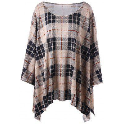 Plus Size Plaid Crescent Hem Top