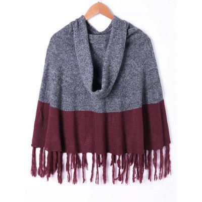 Hooded Tassel Two Tone Knit CapeTops<br>Hooded Tassel Two Tone Knit Cape<br><br>Material: Cotton, Spandex<br>Package Contents: 1 x Cape<br>Pattern Type: Others<br>Weight: 0.5000kg