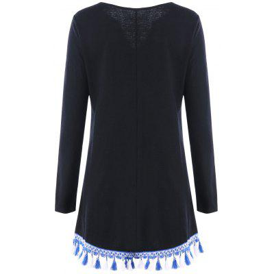 Tassels Front Tie Up Long Sleeve DressWomens Dresses<br>Tassels Front Tie Up Long Sleeve Dress<br><br>Dresses Length: Mini<br>Embellishment: Tassel<br>Material: Polyester, Spandex<br>Neckline: V-Neck<br>Occasion: Casual<br>Package Contents: 1 x Dress<br>Pattern Type: Solid Color<br>Season: Fall, Spring<br>Silhouette: A-Line<br>Sleeve Length: Long Sleeves<br>Style: Casual<br>Weight: 0.4000kg<br>With Belt: No
