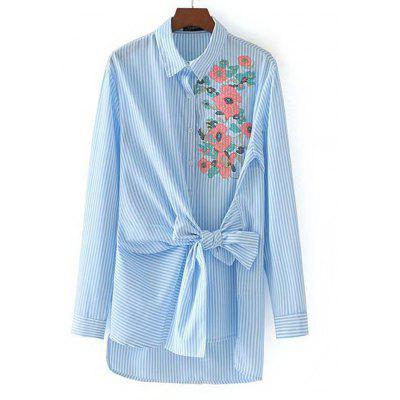 Striped Floral Embroidered Bowknot Shirt