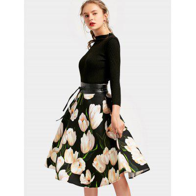 Flower A Line Dress with BeltWomens Dresses<br>Flower A Line Dress with Belt<br><br>Dresses Length: Mid-Calf<br>Material: Polyester<br>Neckline: Stand<br>Occasion: Casual , Going Out<br>Package Contents: 1 x Dress  1 x Belt<br>Pattern Type: Floral<br>Season: Spring, Fall<br>Silhouette: A-Line<br>Sleeve Length: 3/4 Length Sleeves<br>Style: Brief<br>Weight: 0.7250kg<br>With Belt: Yes