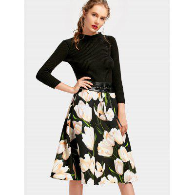Flower Ribbed A Line Dress with Belt