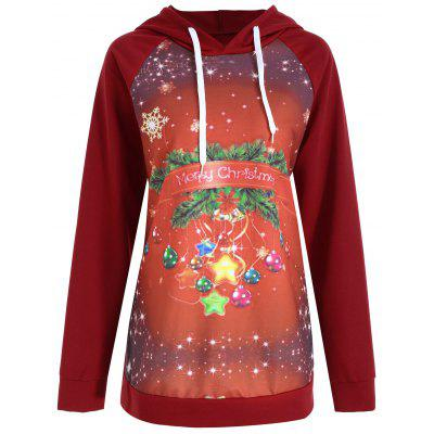 Buy WINE RED 2XL Merry Christmas Snowflake Plus Size Hoodie for $20.66 in GearBest store