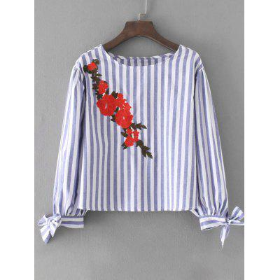 Bowknot Sleeve Stripes Floral Embroidered Blouse