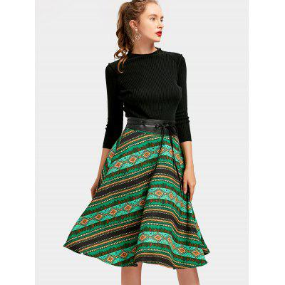 Belted Geometric A Line DressWomens Dresses<br>Belted Geometric A Line Dress<br><br>Dresses Length: Mid-Calf<br>Material: Polyester<br>Neckline: Stand<br>Occasion: Casual, Going Out<br>Package Contents: 1 x Dress  1 x Belt<br>Pattern Type: Geometric<br>Season: Spring, Fall<br>Silhouette: A-Line<br>Sleeve Length: 3/4 Length Sleeves<br>Style: Brief<br>Weight: 0.7250kg<br>With Belt: Yes
