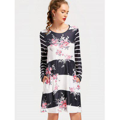 Striped Flower Print Long Sleeve Dress